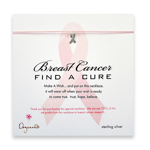 breast cancer find a cure make a wish necklace with sterling silver ribbon on pink