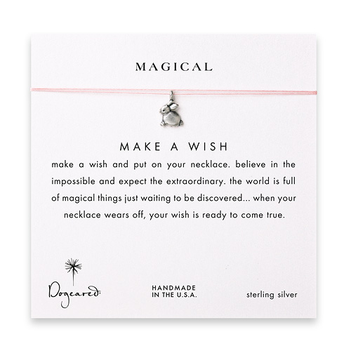 magical make a wish necklace with sterling silver dipped bunny on pink