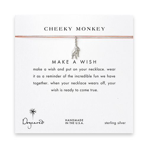 cheeky monkey, monkey necklace on orange, sterling silver