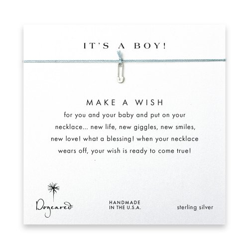 it's a boy safety pin necklace on mint, sterling silver