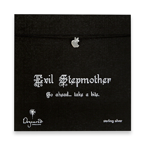 evil stepmother make a wish necklace with sterling silver bitten apple on black