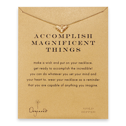 accomplish magnificent things bee necklace, gold dipped