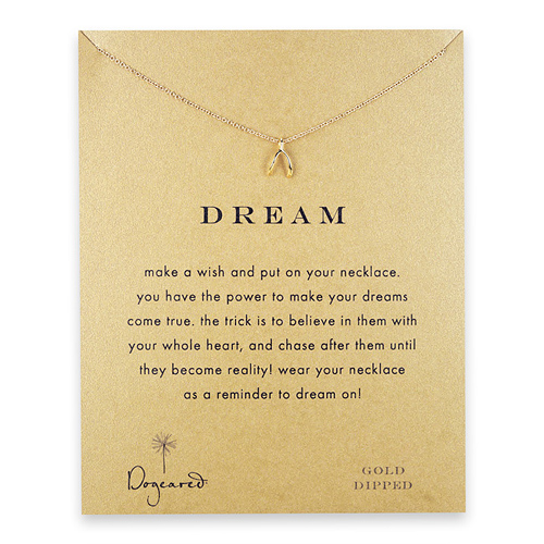 dream wishbone necklace, gold dipped