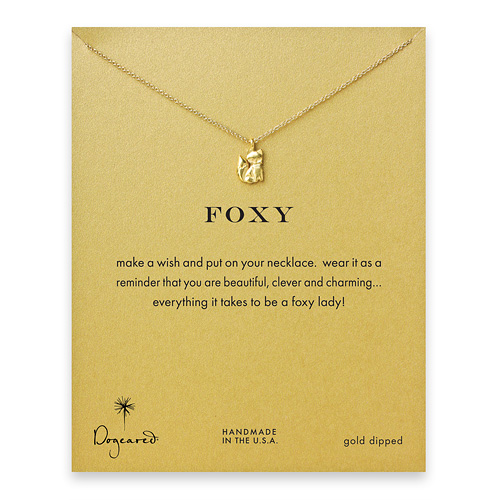 foxy reminder necklace with gold dipped fox