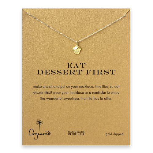 eat dessert first cupcake necklace, gold dipped