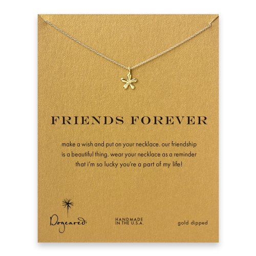 friends forever groovy flower necklace, gold dipped