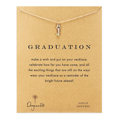 graduation heart key necklace, gold dipped