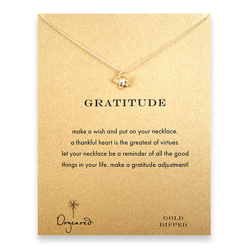 gratitude reminder necklace with gold dipped plumeria
