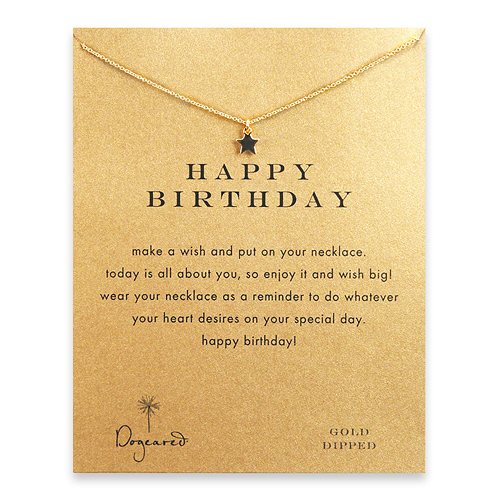 happy birthday teeny star necklace, gold dipped