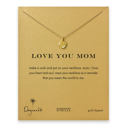 love you mom rose necklace, gold dipped