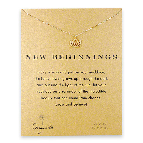new beginnings lotus necklace, gold dipped