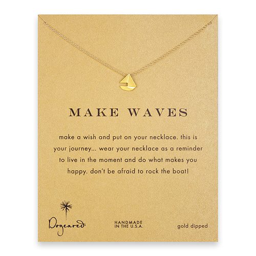 make waves smooth sailboat necklace, gold dipped