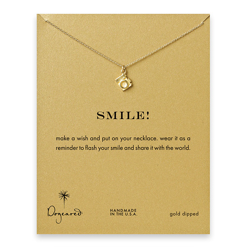 smile! camera necklace, gold dipped