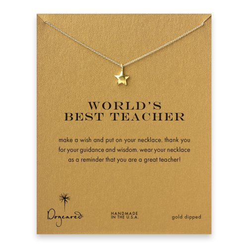world's best teacher star necklace, gold dipped