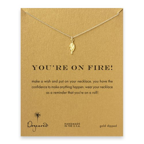 you're on fire! Torch necklace, gold dipped