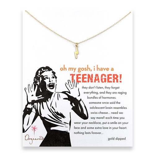 oh my gosh i have a teenager reminder necklace with gold dipped lightening bolt