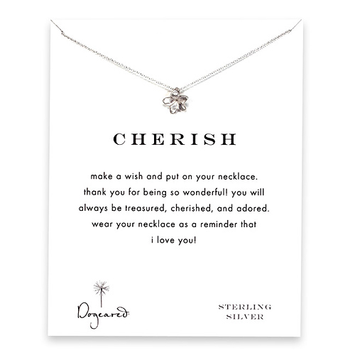 cherish plumeria necklace, sterling silver