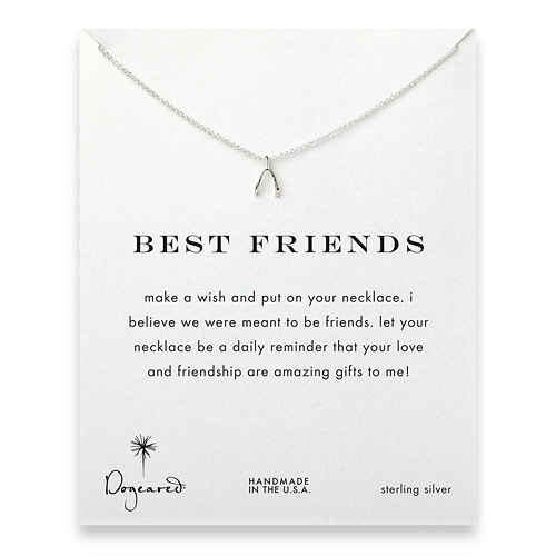 best friends wishbone necklace, sterling silver