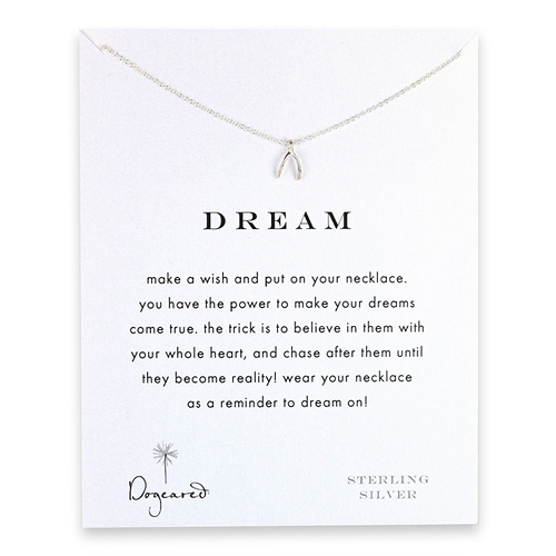 dream wishbone necklace, sterling silver