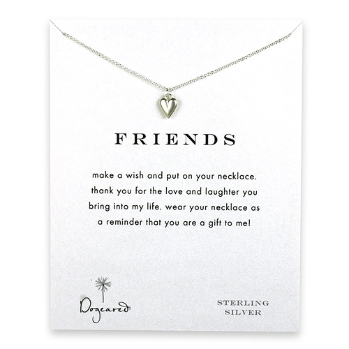 friends reminder necklace with sterling silver kind heart