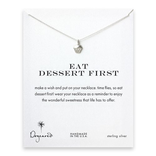 eat dessert first cupcake necklace, sterling silver
