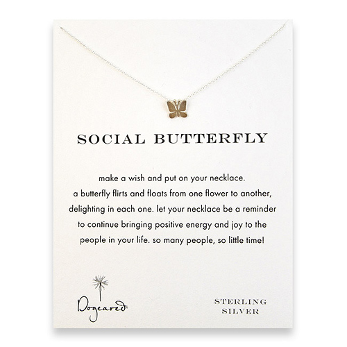 social butterfly reminder necklace with sterling silver butterfly