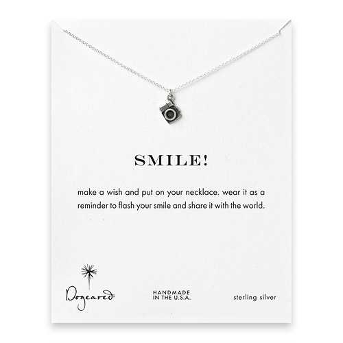 smile! camera necklace, sterling silver