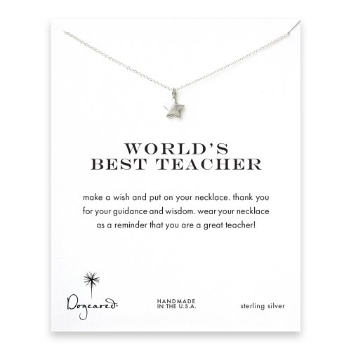 world's best teacher star necklace, sterling silver