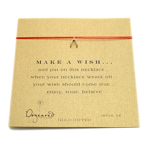 make a wish necklace with gold dipped wishbone on red... the original