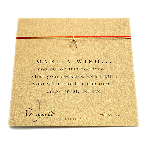 make a wish necklace with gold dipped wishbone on red... the original - 18 inch
