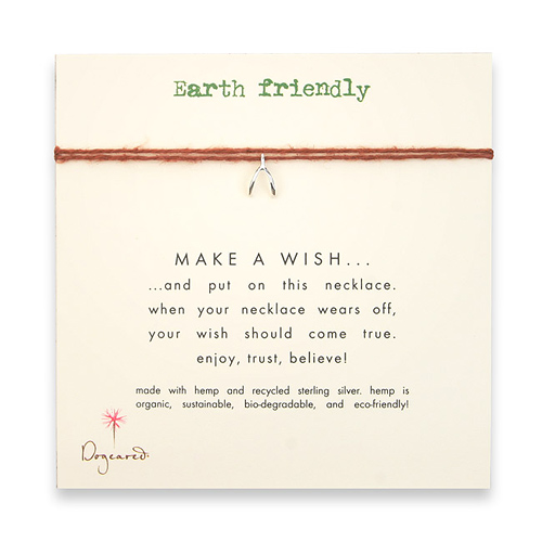 earth friendly make a wish necklace with recycled silver wishbone on tobacco hemp