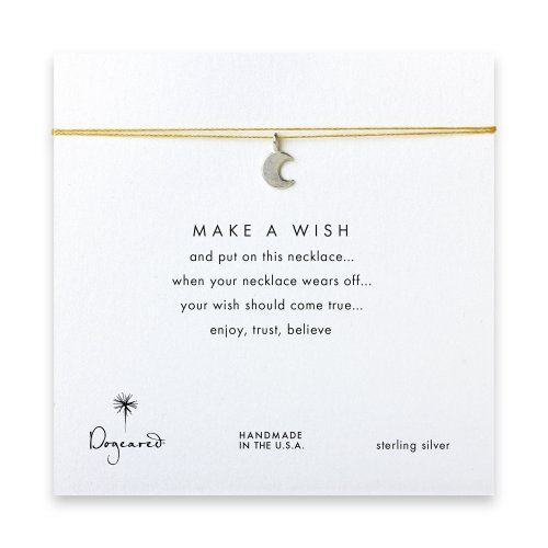 make a wish moon necklace on gold, sterling silver