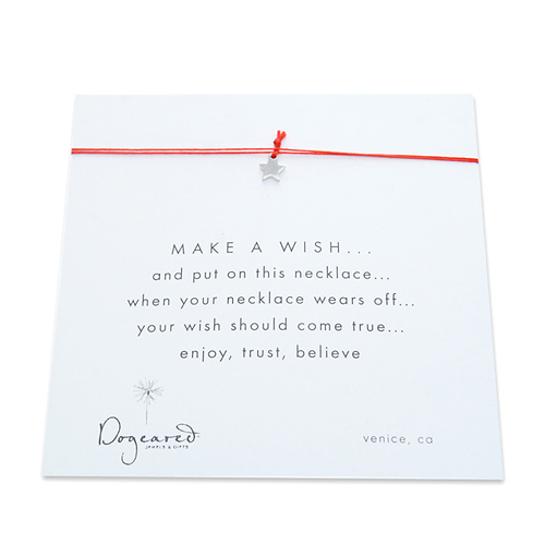make a wish necklace with sterling silver teeny star on red