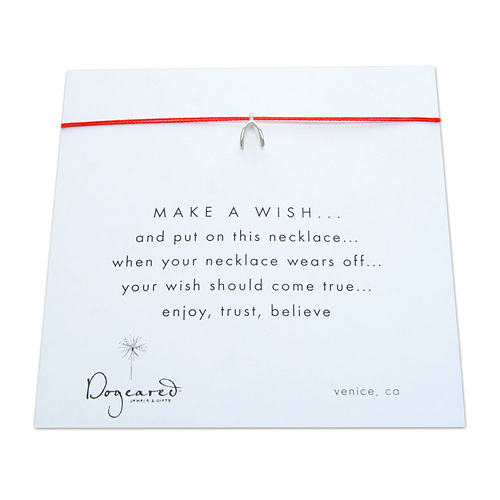 make a wish necklace with sterling silver wishbone on red... the original