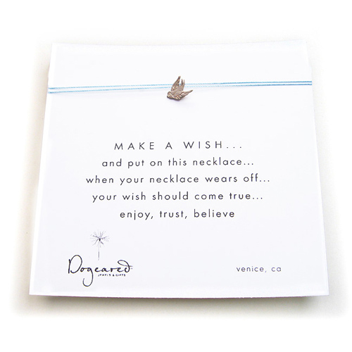 make a wish necklace with sterling silver robin charm on mint
