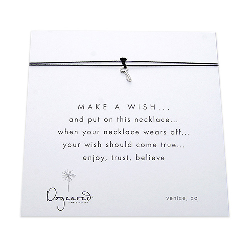 make a wish necklace with sterling silver key on black