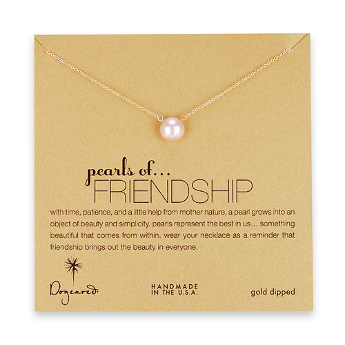 large pearls of friendship pink pearl necklace, gold dipped - 18 inch
