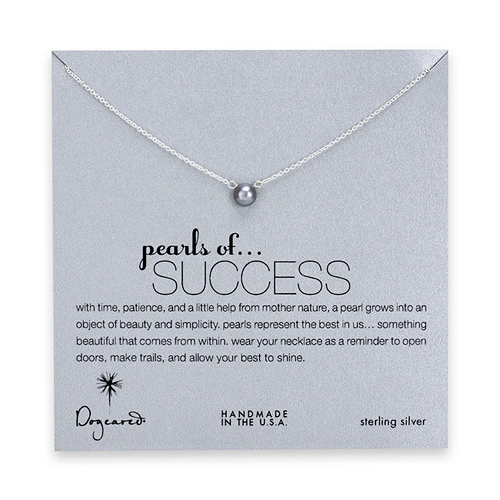 pearls of success gray pearl necklace, sterling silver