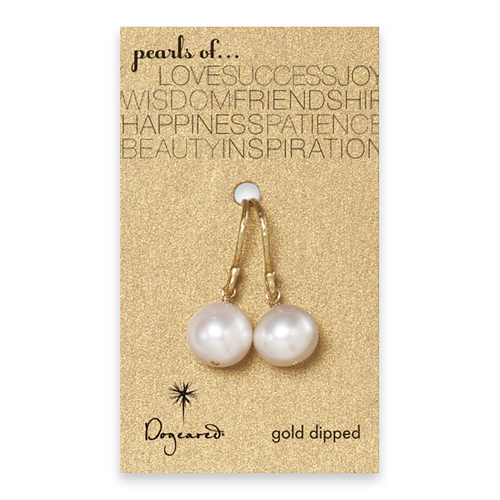 large white pearl earrings, gold dipped