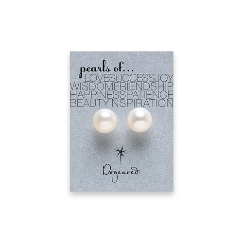 white pearl stud earrings, sterling silver