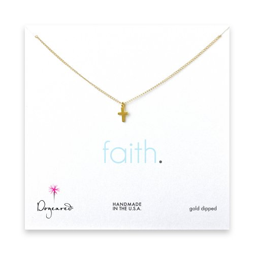 small cross pendant necklace, gold dipped