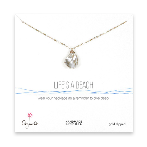 life's a beach keshi pearl necklace, gold dipped - 20 inches