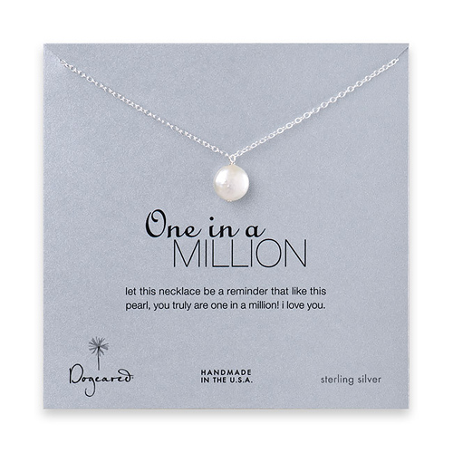 sterling silver one in a million necklace with white round pearl