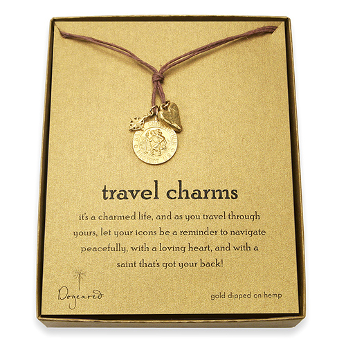 travel charms gold dipped chocolate hemp necklace