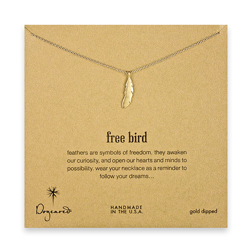 free bird feather necklace, gold dipped
