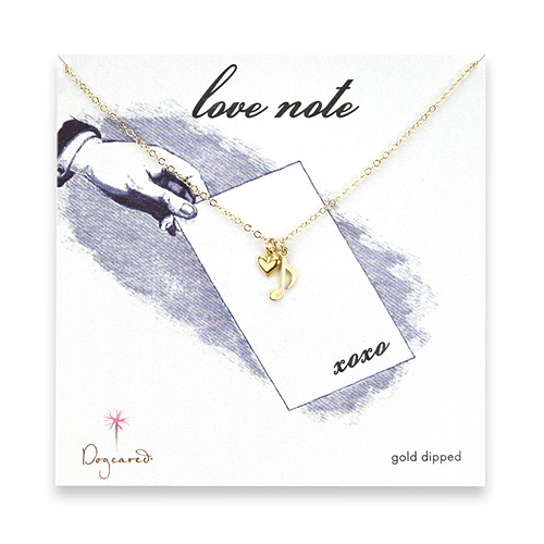 gold dipped love note necklace with music note and cupid heart - 18 inch