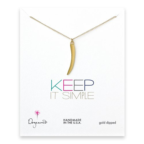 keep it simple gold dipped necklace with large horn