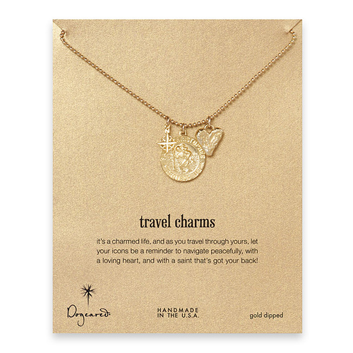 gold dipped travel charms necklace