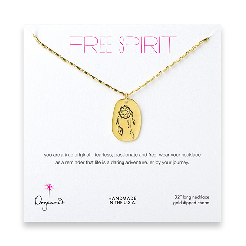 free spirit gold dipped dream catcher necklace - 32 inches