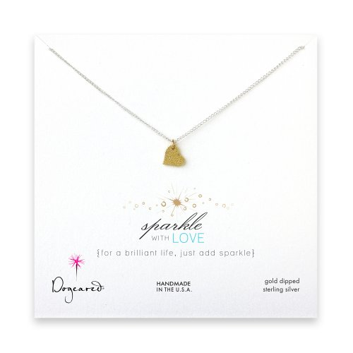 sparkle heart necklace with gold dipped charm on sterling silver chain